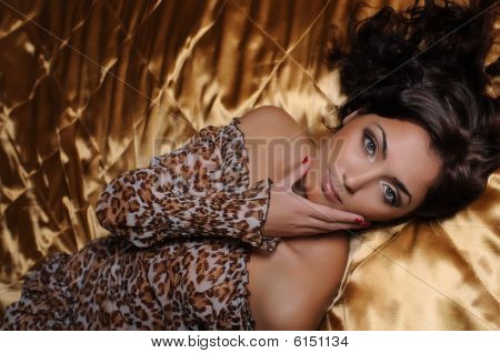 Beautiful Woman On The Big Bed