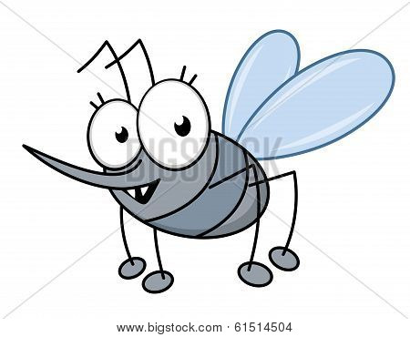 Cartoon mosquito with a long sharp proboscis to suck blood and sharp little teeth in shades of grey, isolated on white poster
