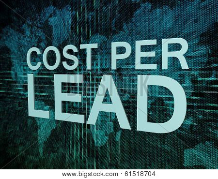 Cost per Lead text concept on green digital world map background poster