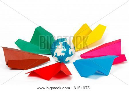 Many Colored Paper Planes And Paper Globe