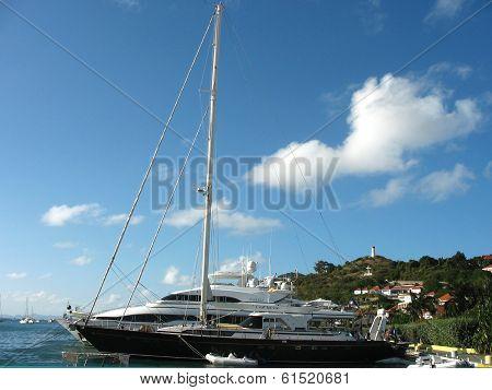 Mega yachts in Gustavia Harbor at St Barts
