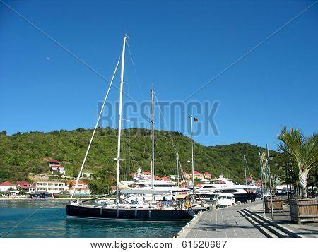 Mega yachts in Gustavia Harbor at St. Barts