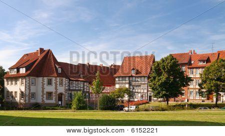 halbe Fachwerkhäuser in Hildesheim, Deutschland