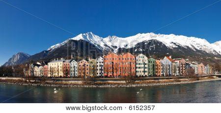 Colorful Houses At Inn Riverside, Innsbruck, Austria
