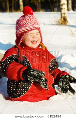 Laughing Girl In Snow