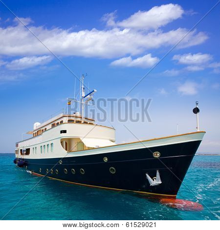 Illetes Illetas Formentera yacht anchored in turquise Balearic Mediterranean