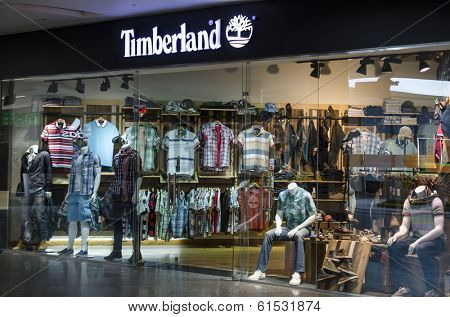 HURGHADA, EGYPT - MARCH 16, 2014: Timberland store. It sells boots, shoes, clothes in own stores and retailers with 5,600 employees and revenue of $1.4 billion.
