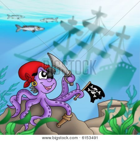 Pirate octopus near ship underwater - color illustration. poster