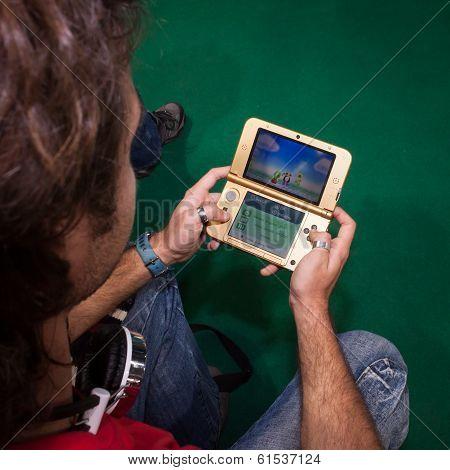 Nintendo Console At Cartoomics 2014 In Milan, Italy