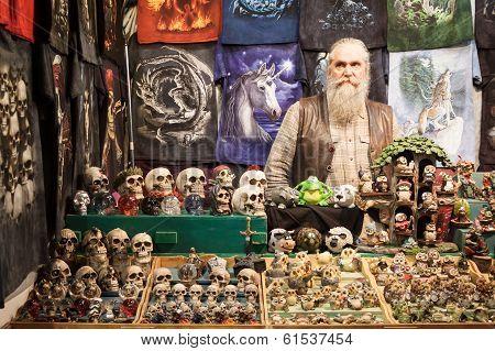 Man With His Skulls At Cartoomics 2014 In Milan, Italy