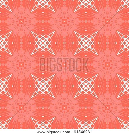Geometric art deco pattern with organic floral shapes in bright coral red color. Texture in 1930s style for print, spring summer fashion, textile, fabric, wallpaper, gift wrapping paper, home decor poster