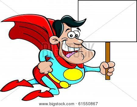 Cartoon superhero holding a sign.