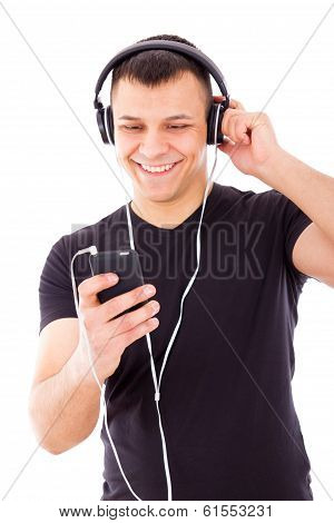 Sexy Man Listening Mp3 Player With Headphones