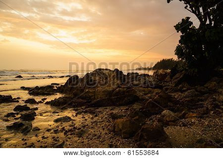 Sunset At The Rocky Beach