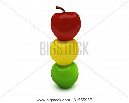 red yallow green tower apple
