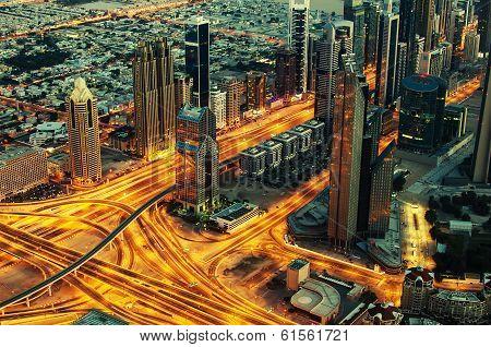 Downtown of Dubai at night
