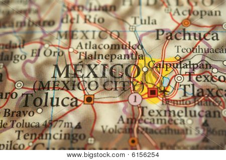 Close-up of a map of Mexico's capital, Mexico City poster