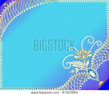 illustration frame background with precious stones and ornaments of gold poster