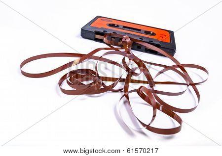 Old broken music cassette