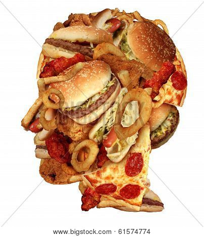 Unhealthy diet health concept with a group of greasy fast food in the shape of a human head as a symbol of dangerouse eating lifestyle and icon of addiction to bad nutrition and risk of heart disease. poster