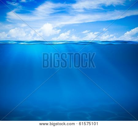 Sea or ocean water surface and underwater