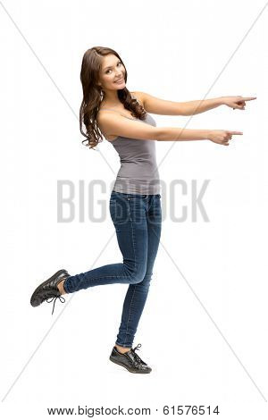 Full-length portrait of girl pointing hand gesturing, isolated on white