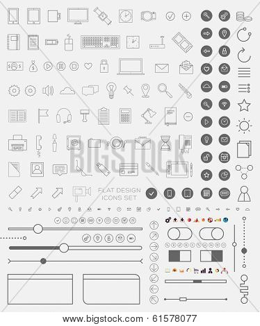 Set of Thin Line Icons and Flat Design Interface Elements. Mobile Phones, Tablet PC, Marketing Technologies, Mobile Apps and Money Management. Concept Icons for Web Design. Buttons and Borders.