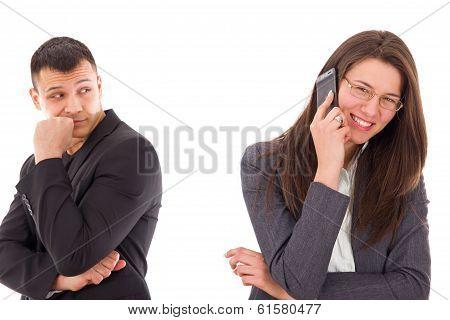Jealous Man Suspecting His Woman Is Unfaithful And Having Secrets