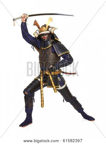 Samurai in armor, isolated on white background
