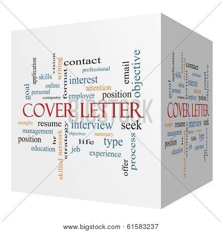 Cover Letter 3D Cube Word Cloud Concept