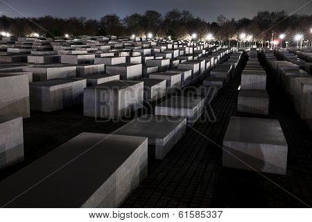Shoah Memorial In Berlin At Night