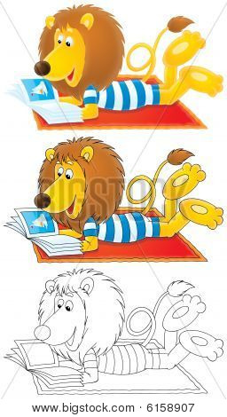 High resolution clip-arts: Funny Lion wearing beachwear reads an illustrated magazine on the red carpet (black-and-white and color drawings with black and color contours) poster