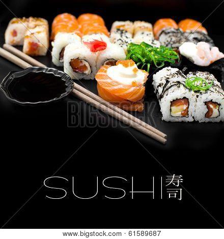 Sushi set isolaterd  on black background