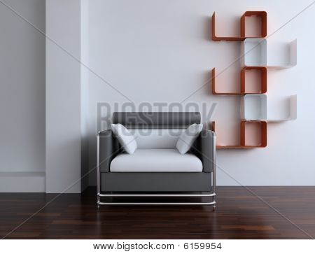 Chair on blank wall