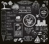 Summer Holidays Chalkboard - Blackboard with summer themed labels, banners, frames and clip art, including ships, sand castle, fish, anchor, beach umbrella and chair, seashells and ice cream  poster