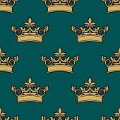 Seamless pattern of a golden crowns depicting royalty on a green background in square format suitable for wallpaper, textile or tiles design poster