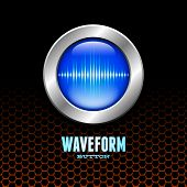 Silver button with blue sound wave sign on orange hex grid poster