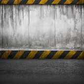 Concrete wall and asphalt. Abstract industrial interior background texture poster