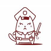 Character police in officer's cap and in the form of police with a official stick line art. Cat female stands smiling and holding a official stick poster