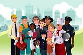 A vector illustration of people with different occupation in a community poster