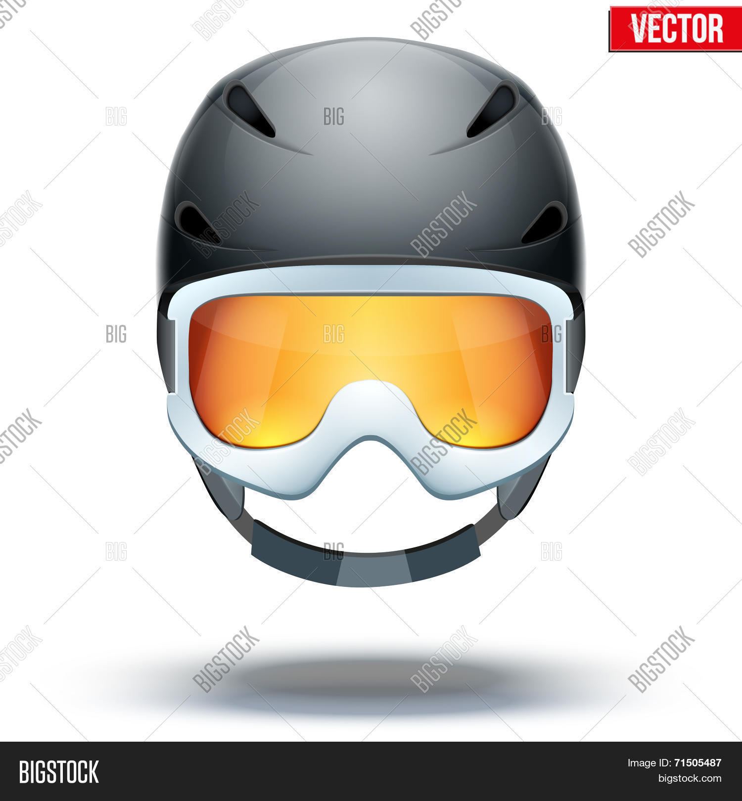 1cdc6a37f26 Front view of Classic black Ski helmet and white snowboard goggles with  orange glass. Winter mountain vacation. Vector isolated on white background