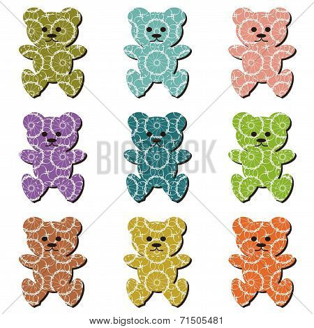 nice scrapbook teddy bears on white vector illustration poster