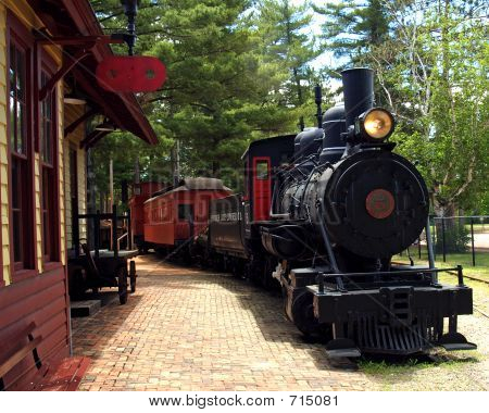 Steam Train At Depot