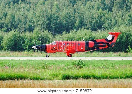 NIZHNY NOVGOROD. RUSSIA. JULY 31, 2014. STRIGINO AIRPORT.The passenger Dexter plane landed.