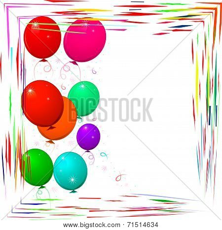 Bright Frame With Balloons