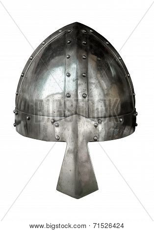 Isolated Viking Style Medieval Suite Of Armour Helmet With Nose Protector On White Background poster