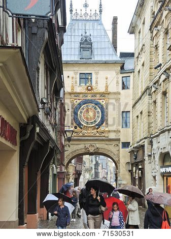 Tourists On Steet Rue Du Gros-horloge, Rouen