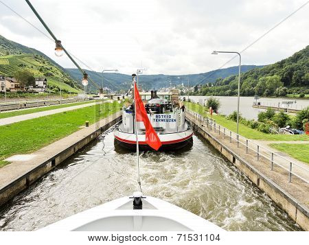 River Boats In Lehmen Sluice On Moselle River