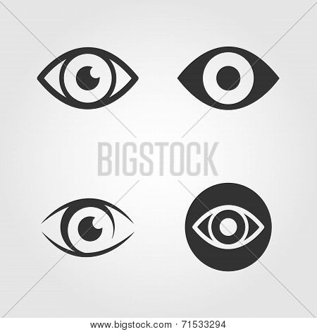 Eye icons set, flat design