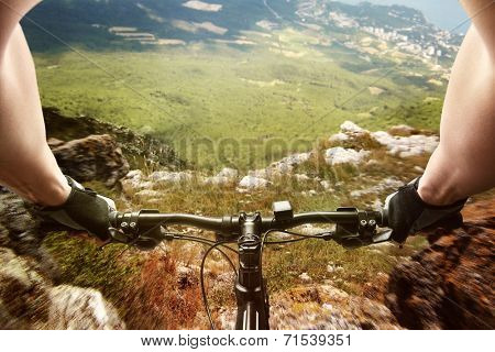 Downhill on a bicycle